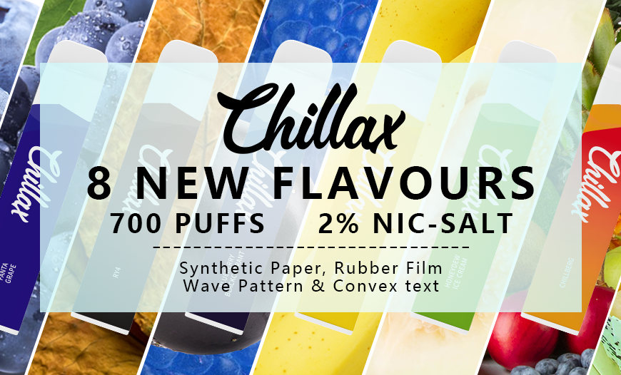 Love Disposables? Meet the 700 Puff CHILLAX with 8 flavours to choose from!