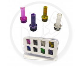 510 Resin Drip Tips | Slim Style MTL | Mixed Designs | Pack of 8