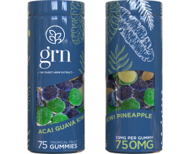 GRN CBD | 750mg CBD Gummies | 1 x Single Pot of 75 Gummies (10mg Per Gummy) | BLUE