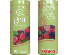 GRN CBD | 750mg CBD Gummies | 1 x Single Pot of 75 Gummies (10mg Per Gummy) | GREEN