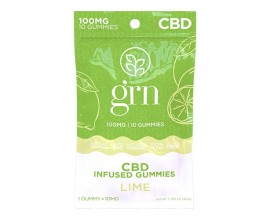 GRN CBD | 100mg Broad Spectrum CBD Gummy Sweets | LIME | Pack of 10 | 10mg Per Gummy