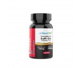 LVWell CBD - Broad Spectrum CBD Soft Gel Capsules - BOOST (Contains Ginkgo Biloba) - 15mg Per Capsule - Pack of 50 / 100 - 750mg / 1500mg