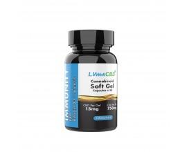 LVWell CBD - Broad Spectrum CBD Soft Gel Capsules - IMMUNITY (Contains Vitamin D3 & Turmeric) - 15mg Per Capsule - Pack of 50 / 100 - 750mg / 1500mg