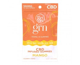 GRN CBD | 100mg Broad Spectrum CBD Gummy Sweets | MANGO | Pack of 10 | 10mg Per Gummy