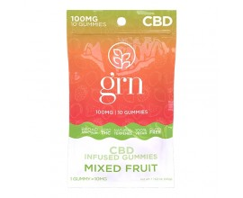 GRN CBD | 100mg Broad Spectrum CBD Gummy Sweets | MIXED FRUITS | Pack of 10 | 10mg Per Gummy