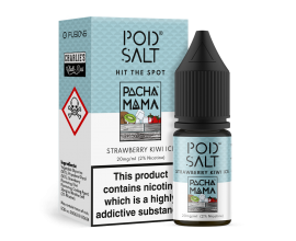 Pod Salts | Fusions Range | Charlie's Chalk Dust Pacha Mama - Strawberry Kiwi Ice | 10ml Single | 20mg Nicotine Salt