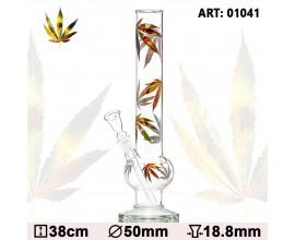 34cm Glass Bubble Leaf Waterpipe - GB1041
