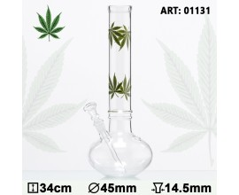 34cm Glass Leaf Bubble Waterpipe - GB1131