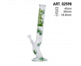 45cm Glass Multi Leaf Waterpipe - Curved Lean - GB2598