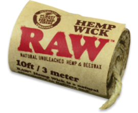 RAW | Hemp Wick Rolls | 3m / 10ft Hemp & Beeswax Wick | Pack of 40 | RAWW300