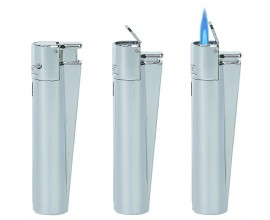Metal Clipper Lighters | Jet Flame Chrome | Tray of 12 | MC1J
