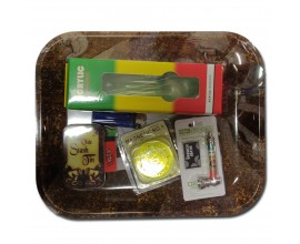 Smoking Gift Set - Large Rolling Tray & Small Waterpipe Gift Set - RIZLA - BTSET-03