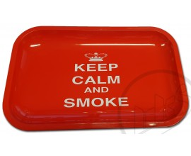 Small Metal Rolling Tray - KEEP CALM & SMOKE DESIGN - RTRAY-CALM