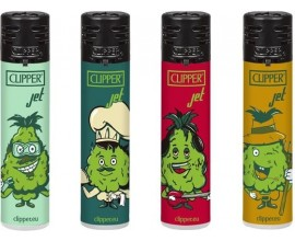 Clipper Lighters | Electronic Jet Lighters | Weed Cogollos Design | Tray of 24