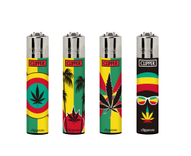 Clipper Lighters | VIP Rasta Weed | Tray of 40 | CLIPVIPRWEED