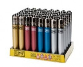 Clipper Lighters | Metallic | Tray of 40 | CLIPMET