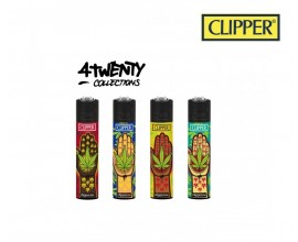 Clipper Four Twenty Collections | Tray of 40 Lighters | Hand Weed Design | CLIP420DUO-HANDWEED