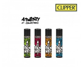 Clipper Four Twenty Collections | Tray of 40 Lighters | Glass Weed Design | CLIP420DUO-GLWEED