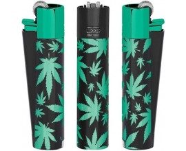 Metal Clipper Lighters | Black & Green Leaves (Limited Edition) | Tray of 12 | MCGREENLEAVES
