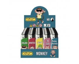 Refillable Electronic Lighters - Monkey - Tray of 50 - ERLMONKEY