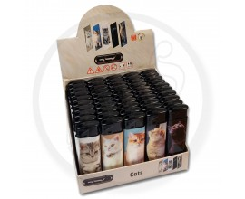 Refillable Electronic Lighters - Cats - Tray of 50 - ERLCAT