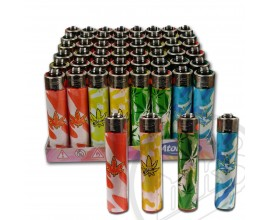 "Atomic ""Festival"" Flint Lighters - Camo Leaf Design - Tray of 48"
