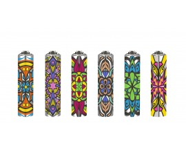 Clipper Lighters | Micro Metal Covers | MANDALA COLOURS | Tray of 30 | CLIPMMC-MANDCOL