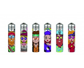 Clipper Lighters | Micro Metal Covers | HIPPIE | Tray of 30 | CLIPMMC-HIPPIE