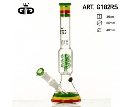 34cm GRACE GLASS Waterpipe - Spiral Percolator with Striped Design - GB182