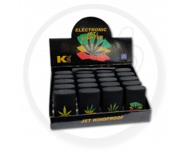 K2 - Leaf Design Windproof Electronic Jet Lighters - Tray of 20