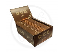 "OCB - Virgin ""Brown"" Unbleached King Size Slim Connoisseur Papers & Tips (32 x 1) - OCBCON-BROWN"