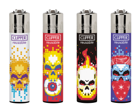 Clipper Lighters | Pixel Death | Tray of 40 | CLIPPIXDEATH