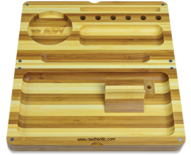 RAW | STRIPED Bamboo Wooden Back Flip Rolling Tray | RAWTWOODF-STRIPE