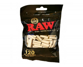 RAW | BLACK XL Filter Tips | 6mm x 20mm | Bag of 120 Tips | RAWBLKF-XL120