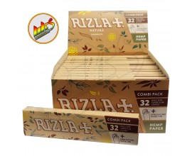 Rizla - HEMP K/S SLIM Connoisseur (Combi Pack) with Roach (24 Packs, 32 Leaves Per Pack)