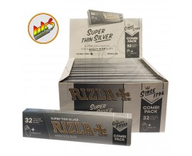 Rizla - SILVER K/S SLIM Connoisseur with Roach (24 Packs, 32 Leaves Per Pack)
