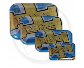 Rizla | Metal Rolling Trays | GOLD / BLUE RIZLA LOGO | Various Sizes