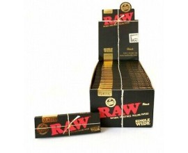 RAW | BLACK Classic Single Wide Rolling Papers | 50 Leaves Per Pack | 50 Packs Per Box