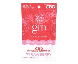 GRN CBD | 100mg Broad Spectrum CBD Gummy Sweets | STRAWBERRY | Pack of 10 | 10mg Per Gummy