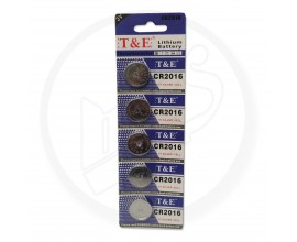 T & E | 3V Silver Cell Lithium Watch Battery | CR2016 | 1 x Strip of 5 Batteries