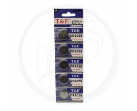T & E | 3V Silver Cell Lithium Watch Battery | CR2025 | 1 x Strip of 5 Batteries