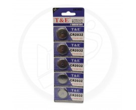 T & E | 3V Silver Cell Lithium Watch Battery | CR2032 | 1 x Strip of 5 Batteries