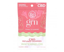 GRN CBD | 100mg Broad Spectrum CBD Gummy Sweets | WATERMELON | Pack of 10 | 10mg Per Gummy